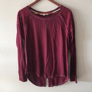 Rewind long sleeve embroidered top in burgundy
